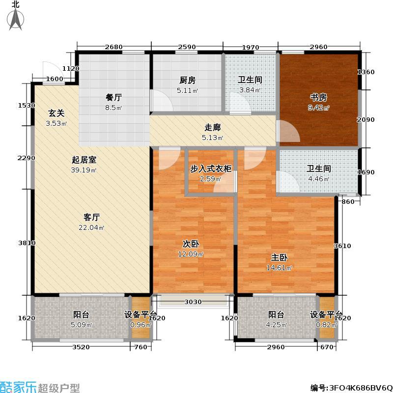 新建中心125.10㎡B户型3室2厅2卫