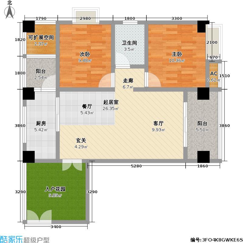 盛鑫中央广场88.60㎡精致两房设计户型LL