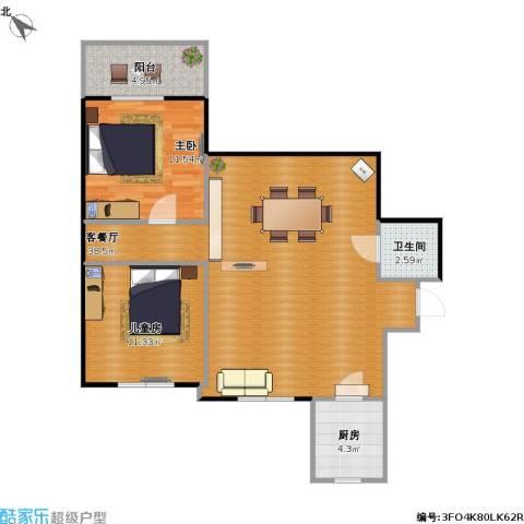 能群大厦2室1厅1卫1厨78.36㎡户型图