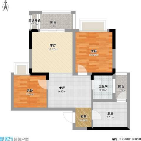 美利山公园城市2室1厅1卫1厨82.00㎡户型图