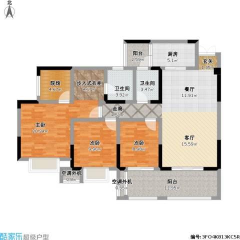 美利山公园城市3室1厅2卫1厨156.00㎡户型图