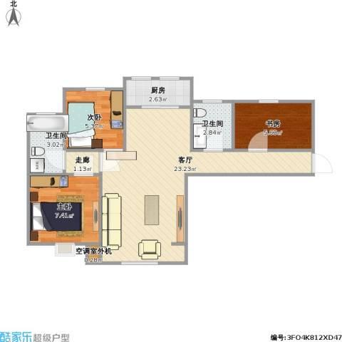 紫晶悦城3室1厅2卫1厨71.00㎡户型图