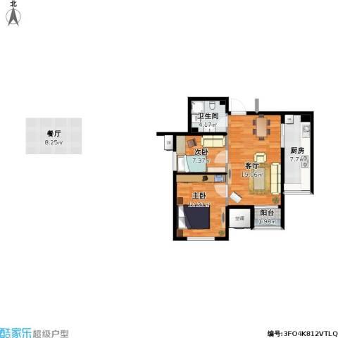 渤海天易园2室1厅1卫1厨74.00㎡户型图
