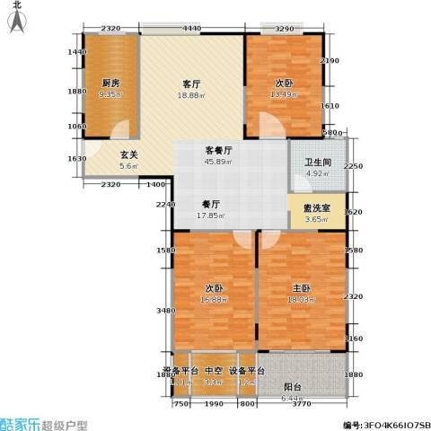 元丰宜家3室1厅1卫1厨129.00㎡户型图