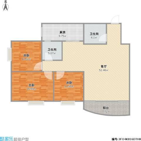 西安锦都3室1厅2卫1厨163.00㎡户型图