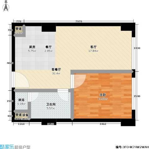 沸腾CBD1室1厅1卫0厨61.00㎡户型图