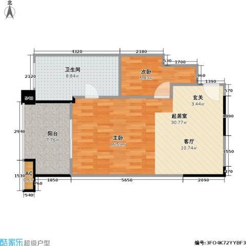 聚龙湖1室0厅1卫0厨57.70㎡户型图