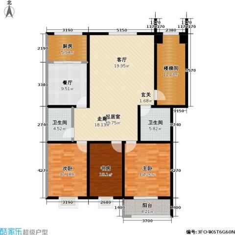 紫祥花园3室1厅2卫1厨132.00㎡户型图