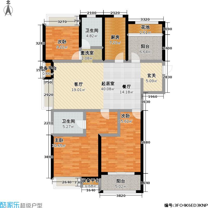 九龙仓时代上院137.00㎡九龙仓时代上院户型图10号楼户型E(3+1)房两厅两卫(1/8张)户型4室2厅2卫