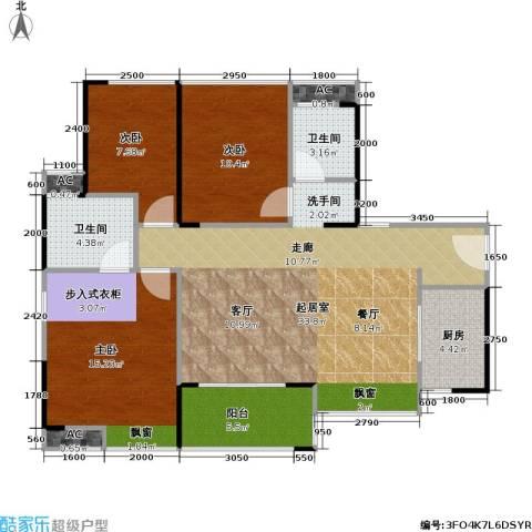 万科四季花城3室0厅2卫1厨117.00㎡户型图