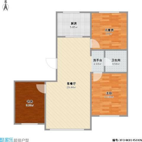 金鼎凤凰城3室1厅1卫1厨93.00㎡户型图