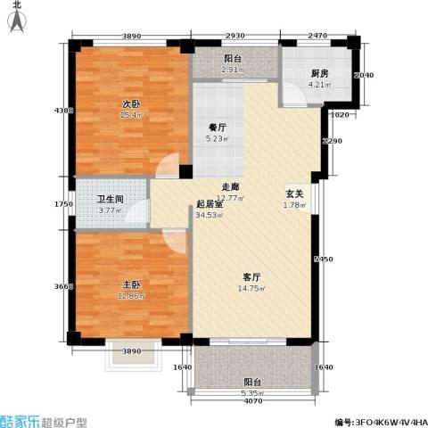 新贵都万体景苑商业2室0厅1卫1厨88.00㎡户型图