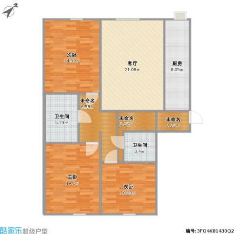 丰景御苑3室1厅2卫1厨121.00㎡户型图