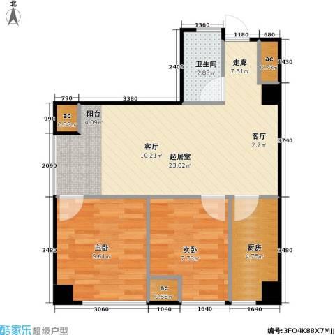 锦业时代二期2室0厅1卫1厨65.00㎡户型图