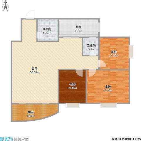 西安锦都3室1厅2卫1厨153.00㎡户型图