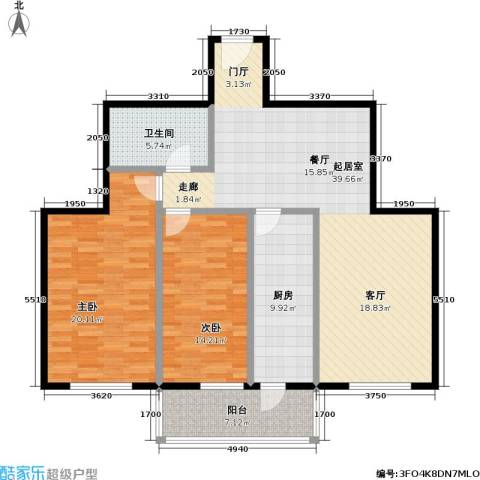 水岸长桥(长安星园)2室0厅1卫1厨108.00㎡户型图