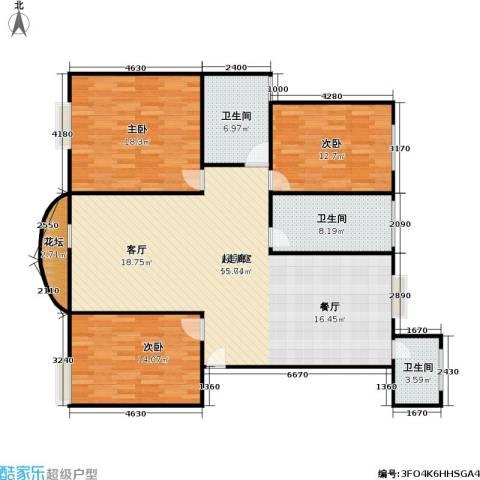 新都城公寓3室0厅3卫0厨125.00㎡户型图