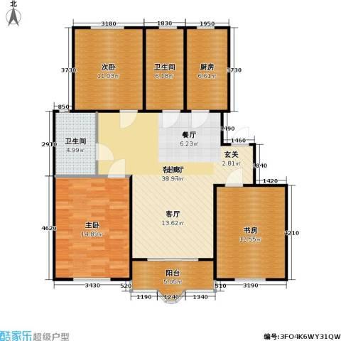 虹口玫瑰苑3室1厅2卫1厨104.00㎡户型图
