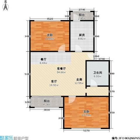 新塘桥生活广场写字楼2室1厅1卫1厨96.00㎡户型图