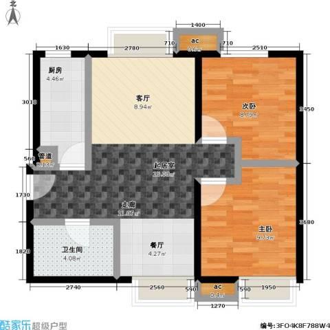 东亚・瑞晶苑2室0厅1卫1厨74.00㎡户型图