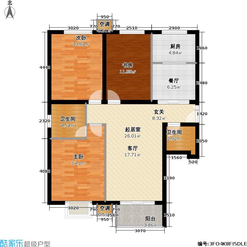 首开知语城b1-3户型三室二厅二卫户型