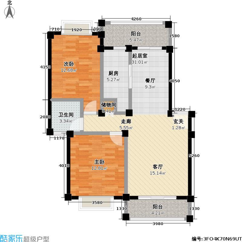 金和佳园71.00㎡房型: 二房; 面积段: 71 -88 平方米; 户型
