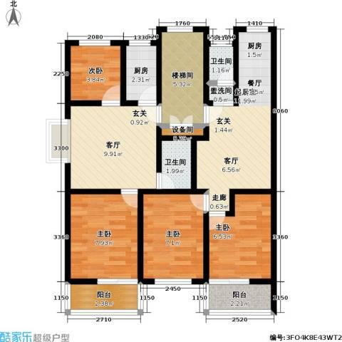 荷畔水都4室1厅2卫1厨76.00㎡户型图