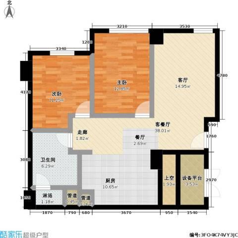 沸腾CBD2室1厅1卫0厨89.00㎡户型图
