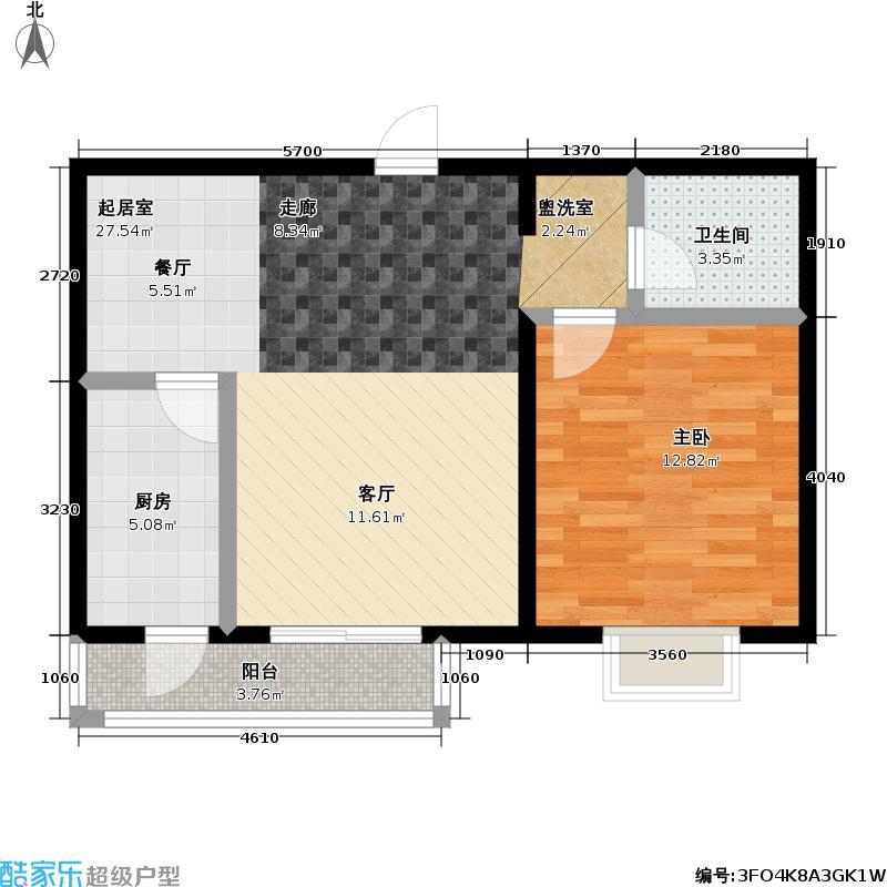 艺苑・桐城F2户型 一室两厅一卫户型1室2厅1卫