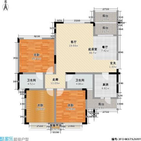 鸥鹏兰亭别院3室0厅2卫1厨127.00㎡户型图