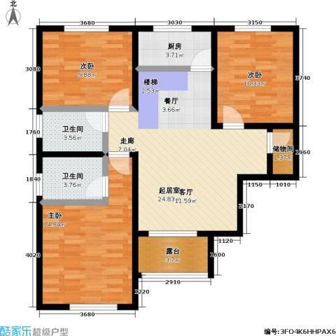 嘉汇・凯旋花园3室0厅2卫1厨110.00㎡户型图