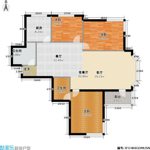 九新雾凇水岸3室1厅2卫1厨164.00㎡户型图