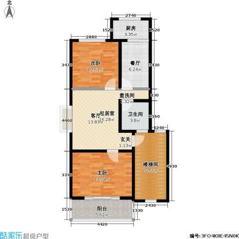 荷畔水都2室1厅1卫1厨81.00㎡户型图