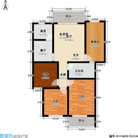 荷畔水都3室1厅1卫1厨102.00㎡户型图