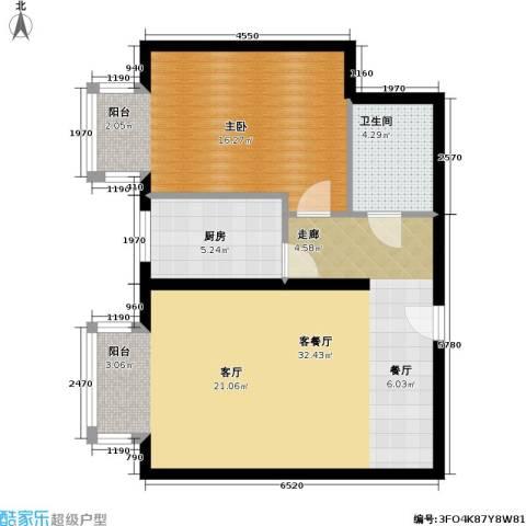 国际E庄1室1厅1卫1厨65.00㎡户型图