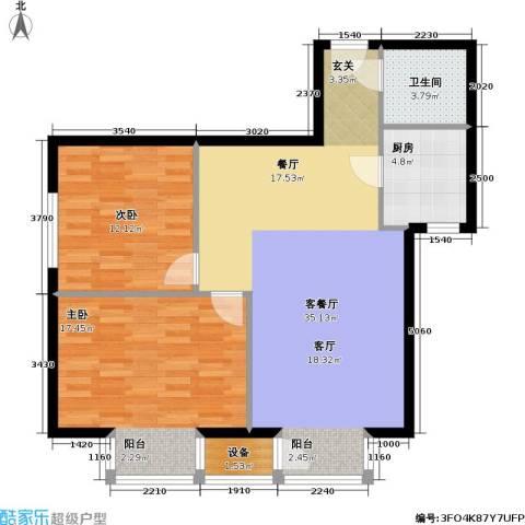 国际E庄2室1厅1卫1厨83.00㎡户型图