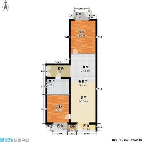 国际E庄2室1厅1卫0厨90.00㎡户型图