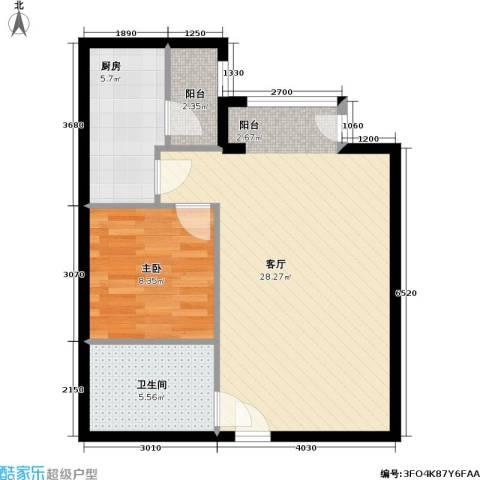 国际E庄1室1厅1卫1厨57.00㎡户型图