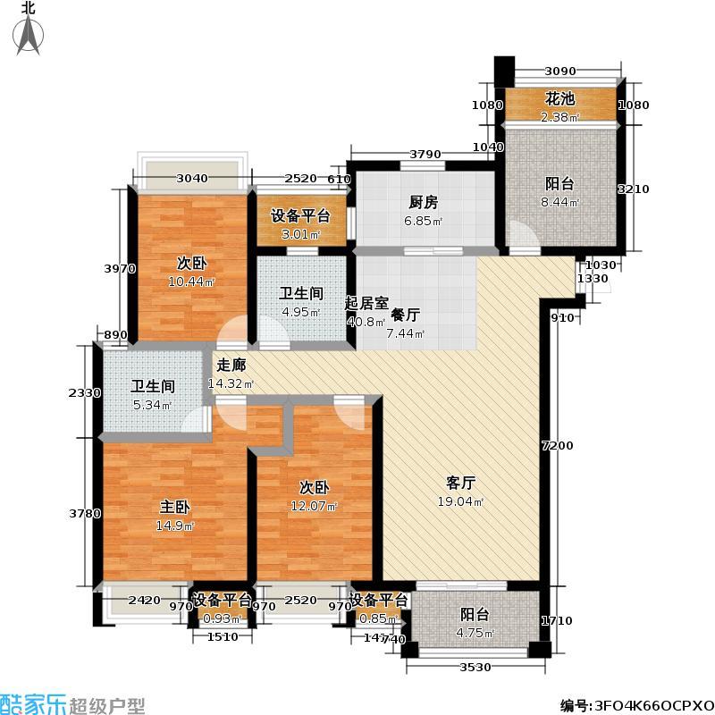 九龙仓时代上院135.00㎡九龙仓时代上院户型图10号楼户型D(3+1)房两厅两卫(2/8张)户型4室2厅2卫