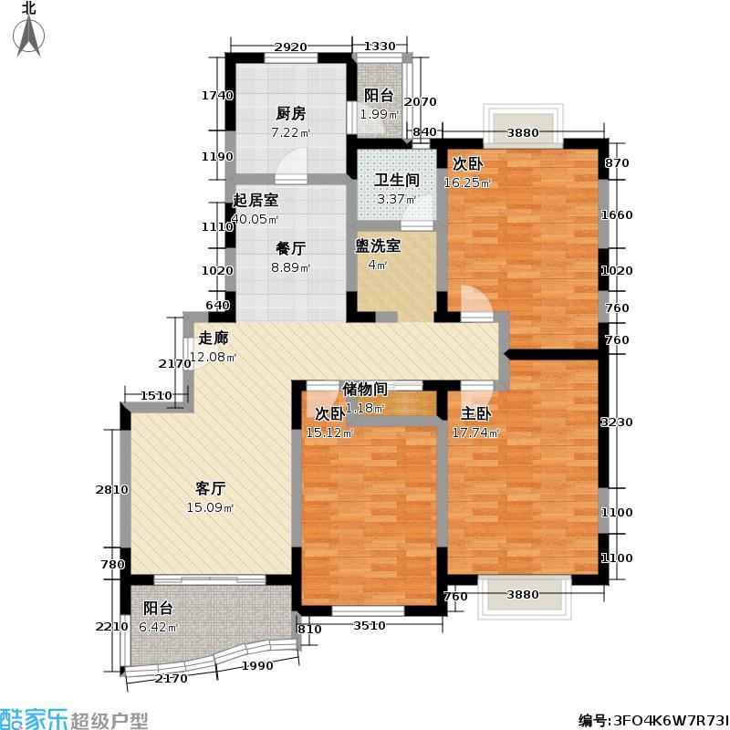 峥宸苑一期126.00㎡房型: 三房; 面积段: 126 -137 平方米; 户型
