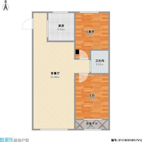 青旅福润家园2室1厅1卫1厨86.00㎡户型图