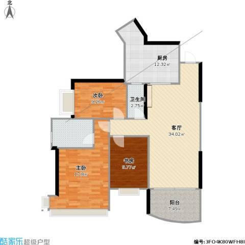 雅居乐国际花园三期3室1厅2卫1厨132.00㎡户型图