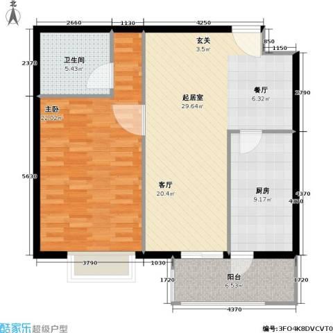 枫南世嘉(亚飞小区)1室0厅1卫1厨81.00㎡户型图