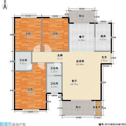 锦天・生态城3室0厅3卫1厨133.00㎡户型图