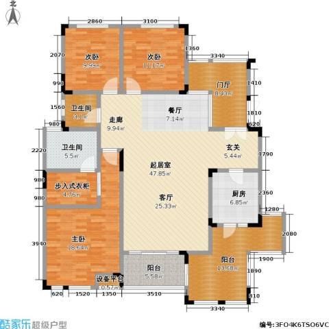 鸥鹏兰亭别院3室0厅2卫1厨154.00㎡户型图