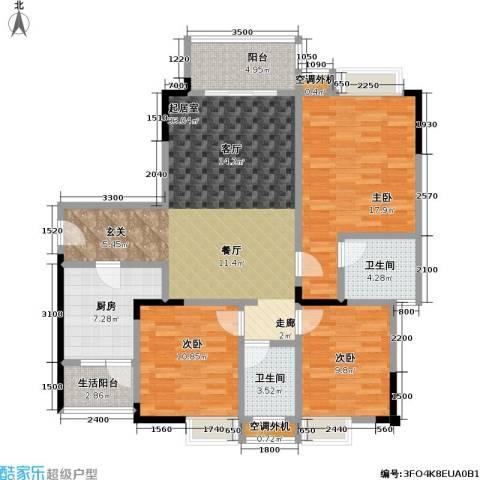 渝能幸福山房3室0厅2卫1厨108.82㎡户型图