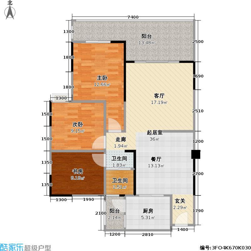中铁金山90.83㎡中铁金山户型图二期C6型两室两厅一卫90.83平米赠送25.16平米装修建议(6/16张)户型10室