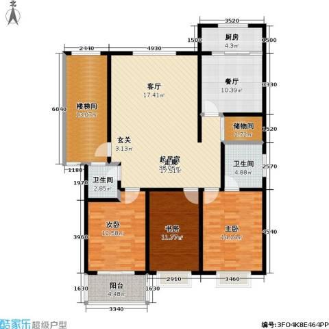 荷畔水都3室1厅2卫1厨135.00㎡户型图
