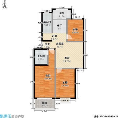 锦绣中华3室0厅2卫1厨106.00㎡户型图
