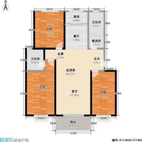 锦绣中华3室0厅2卫1厨131.00㎡户型图